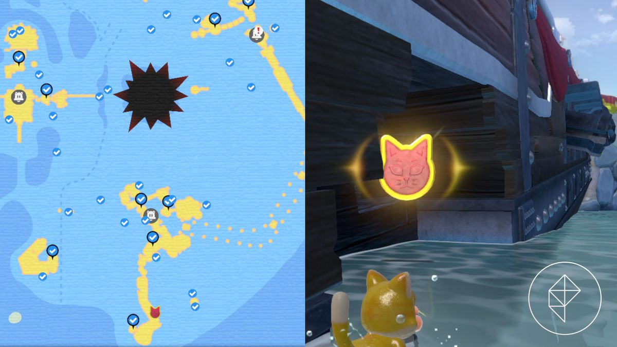 A map showing where to find a Cat Shine Shard below a ship