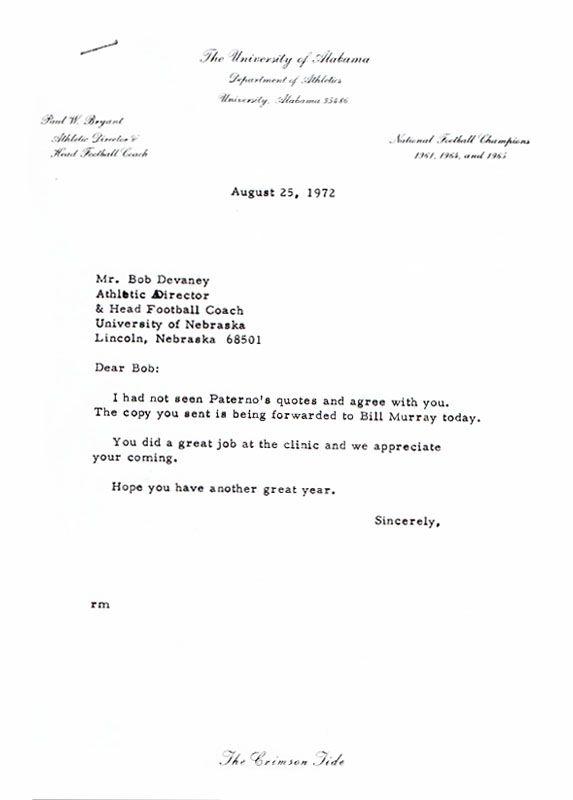Paul Bear Bryant response to Bob Devaney about Joe Paterno