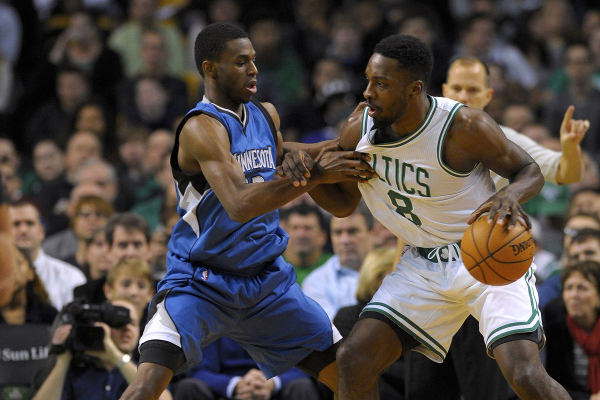 First overall pick Andrew Wiggins defends Celtics Jeff Green
