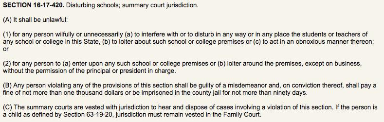 South Carolina's school disturbance law.