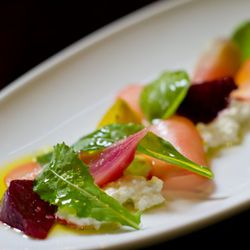 Homemade Organic Ricotta with marinated Swank Farms baby beets, pickled radish, baby arugula, and grilled sourdough. (Photo: Tim Aylen)