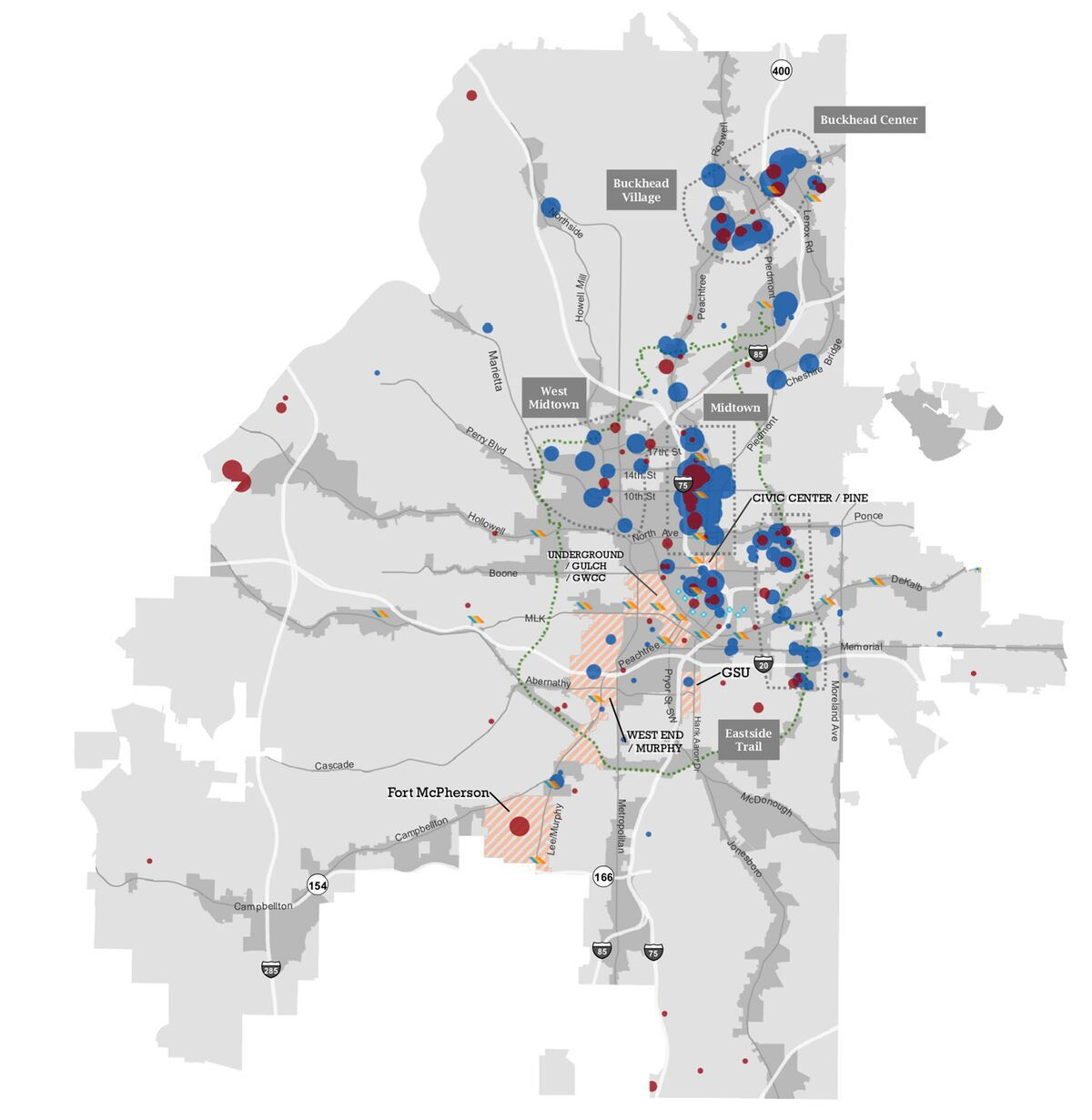 A graphic showing building permit density across the City of Atlanta for the past few years, in black and white, with red and blue dots.