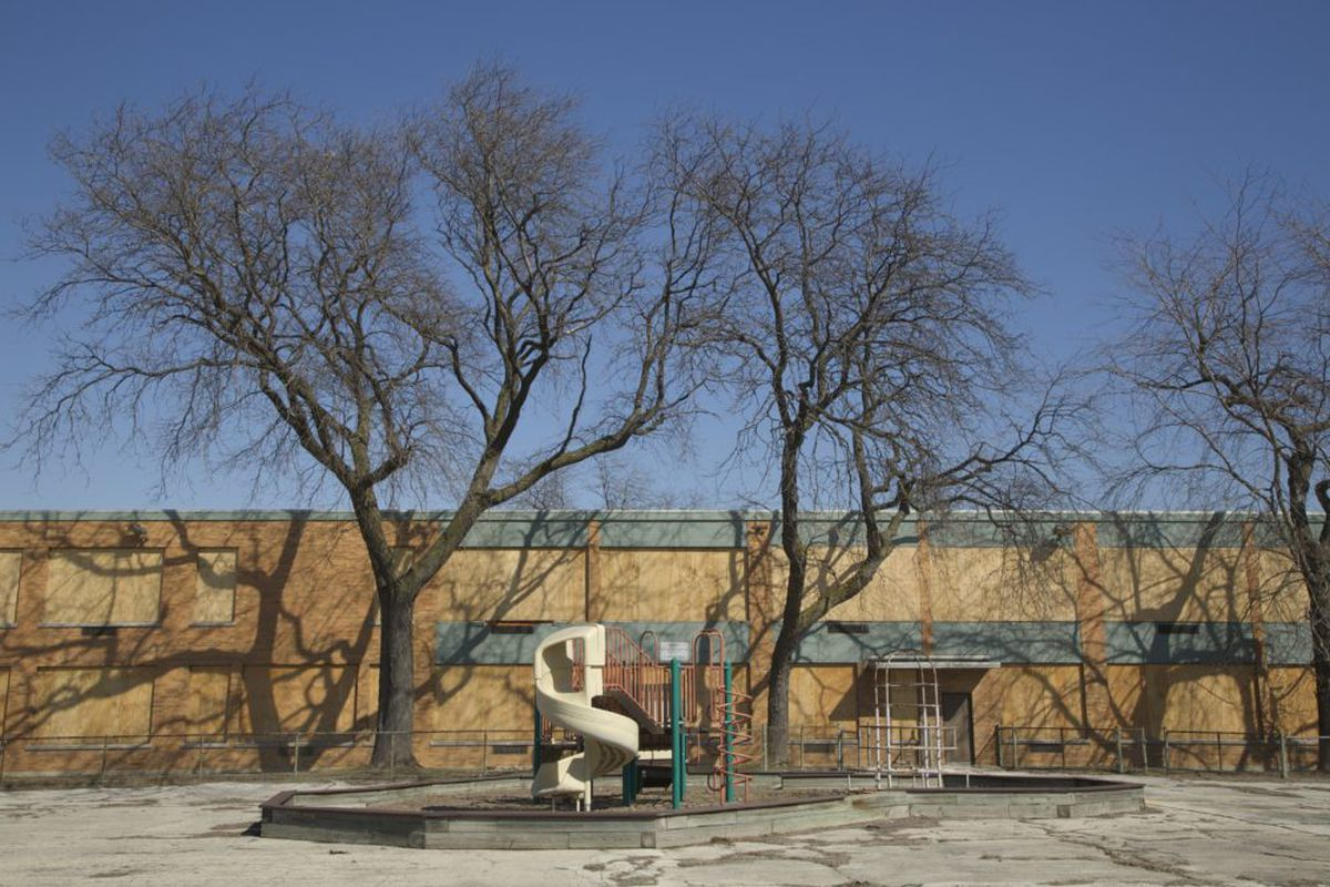 Crispus Attucks Elementary School, which was closed years ago is boarded up in Chicago, Illinois. (Photo by John Gress/Corbis via Getty Images)