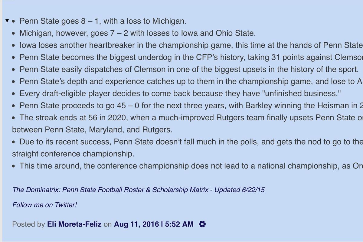 Penn State Championship Game Predictions
