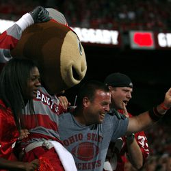 Brutus with Ohio State fans.