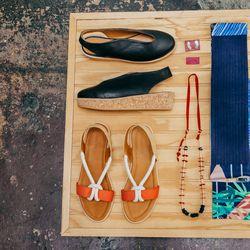Reality Studio wedges, $420; Endeavor necklace, $135; Reality Studio sandals, $420