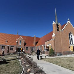 People arrive at Wasatch Presbyterian Church in Salt Lake City, Monday, March 9, 2015 for the funeral service for Deedee Corradini.