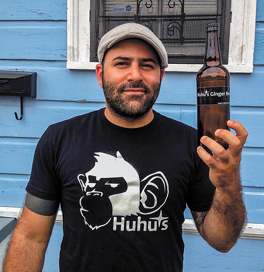 Sam Halhuli and HuHu's Ginger Brew (Photo: Sarah Baird)