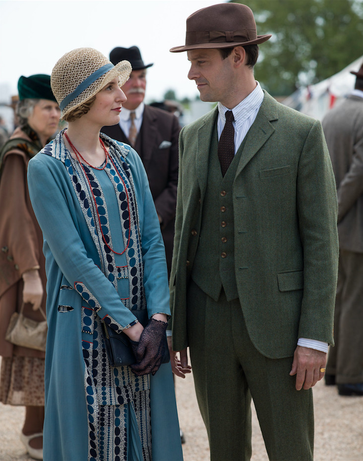 Laura Carmichael as Lady Edith Crawley and Harry Hadden-Paton as Bertie Pelham on Downton Abbey.