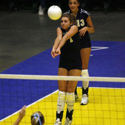 Skyline's Marissa Powell (1) as Fremont faces Skyline in the second round of the 5A volleyball state tournament at the McKay Center in Orem Friday, November 2, 2007.