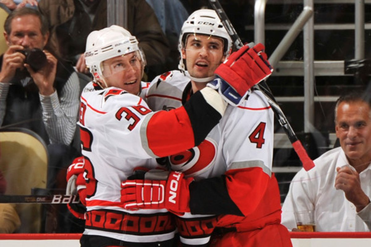 Have Jamie McBain and Jussi Jokinen celebated a Hurricanes goal for the last time?