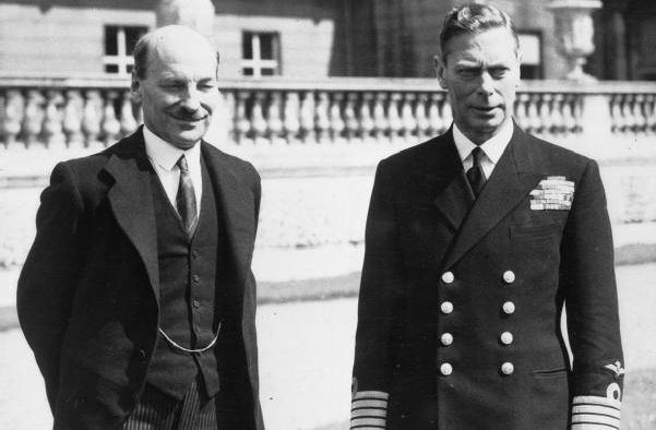 British prime minister Clement Attlee and King George VI in 1945
