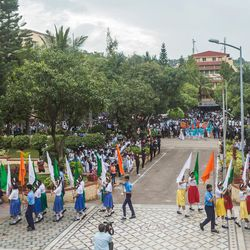 Students conduct a flag march during the 71st Independence Day celebrations at the MIT World Peace University in Pune, Maharashtra, India, on August 15, 2017.