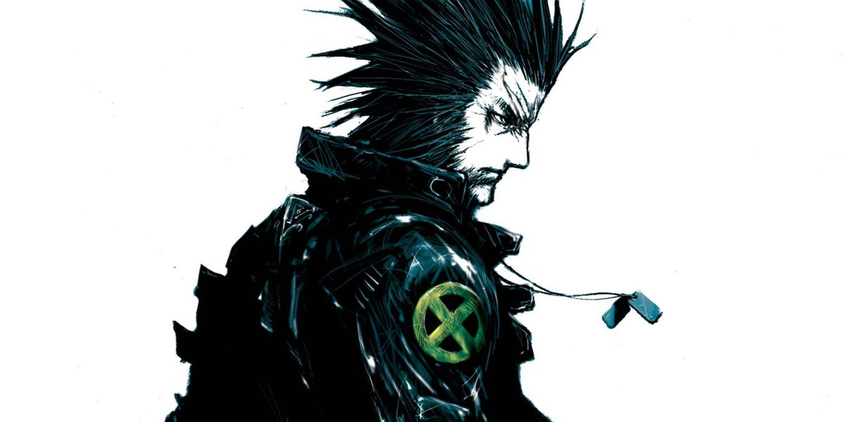 Wolverine looks over his shoulder at the viewer, wearing dog tags and a leather jacket with the X-Men symbol on the shoulder, on the cover of Wolverine: Snikt! #3, Marvel Comics (2003).