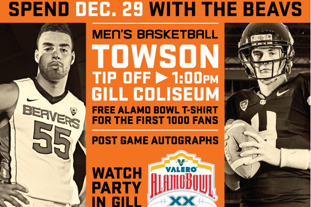 Oregon St. is planning an Alamo Bowl Watch Party following the basketball game earlier in the day, in case you aren't going to San Antonio.