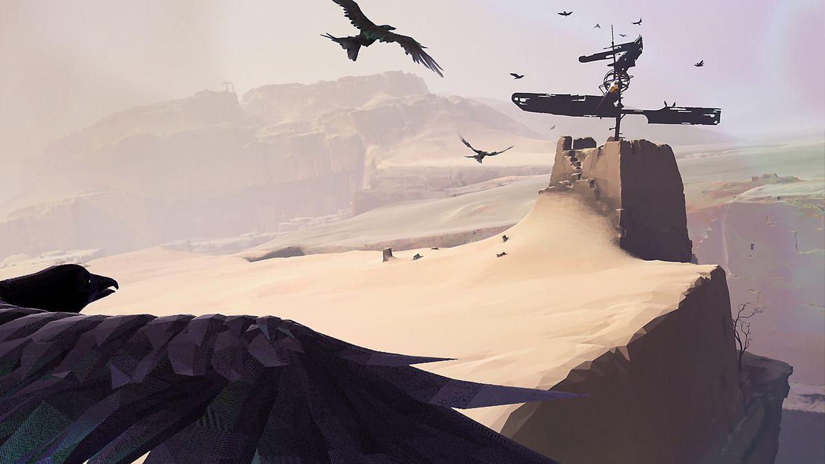 Vane - bird flying toward windmill