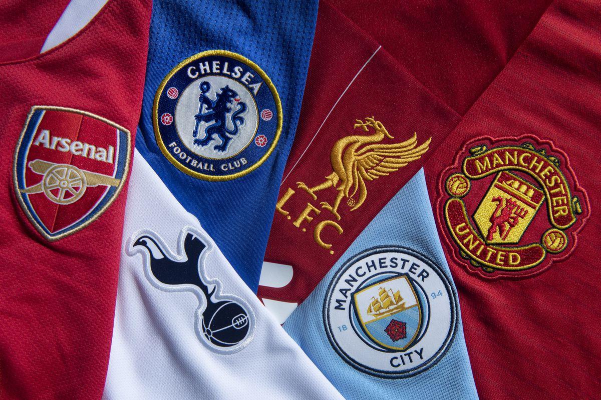 Top Six Club Badges on Football Shirts