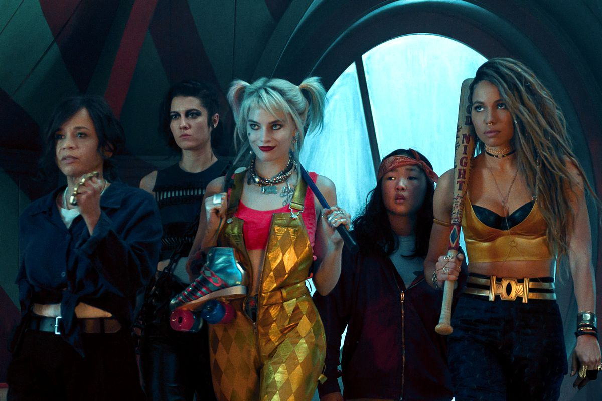 Left to right, Rosie Perez (Renee Montoya), Mary Elizabeth Winstead (Huntress), Margot Robbie (Harley Quinn), Ella Jay Basco (Cassandra Cain), and Jurnee Smollett-Bell (Black Canary), in Birds of Prey (Or the Fantabulous Emancipation of One Harley Quinn).