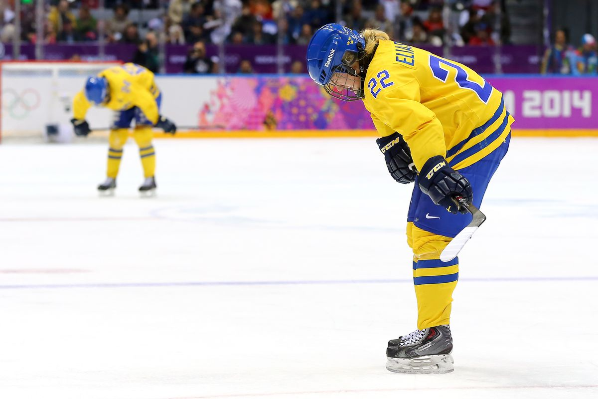 Emma Eliasson #22 and Erika Grahm #24 of Sweden react after losing to Switzerland 4-3 during the Ice Hockey Women's Bronze Medal Game on day 13 of the Sochi 2014 Winter Olympics at Bolshoy Ice Dome on February 20, 2014 in Sochi, Russia.