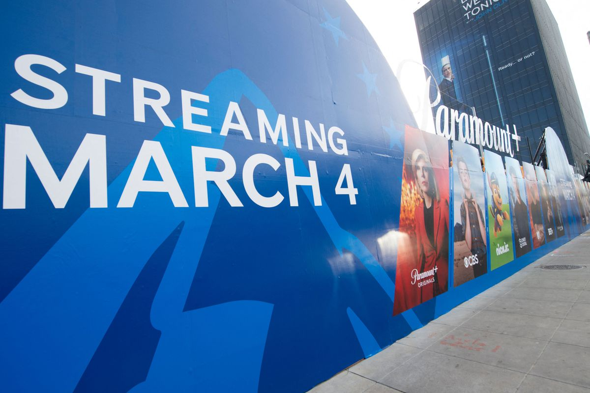 A billboard announcing the launch of Paramount's streaming service is pictured on Sunset Strip in West Hollywood, Calif.