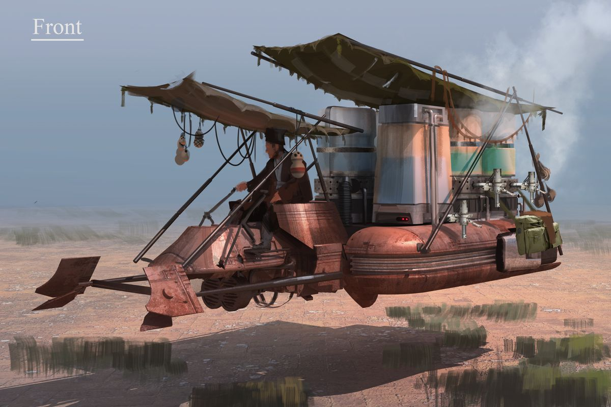 Concept art showing a large speeder bike with land speeder filled with jugs of blue milk.