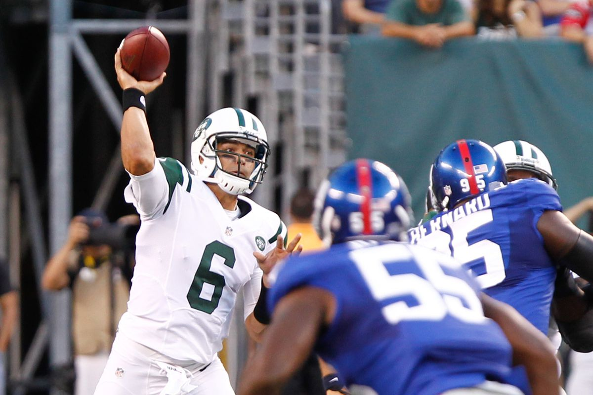 Aug. 18, 2011; East Rutherford, NJ, USA; New York Jets quarterback Mark Sanchez (6) throws during the first quarter against the New York Giants at MetLife Stadium. Debby Wong-US PRESSWIRE