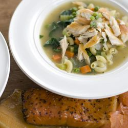 In this image taken on November 28, 2011, Smoked Trout Noodle Soup is shown in Concord, N.H.