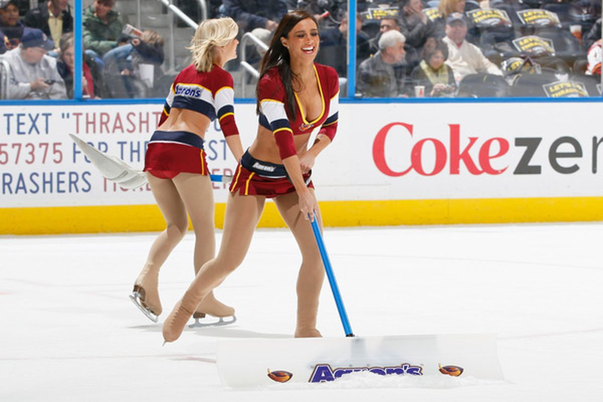 ATLANTA GA - DECEMBER 10:  An Atlanta Thrashers Blue Crew cleans the ice during the game against the Colorado Avalanche at Philips Arena on December 10 2010 in Atlanta Georgia.  (Photo by Kevin C. Cox/Getty Images)