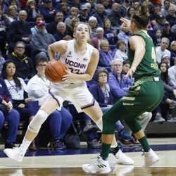 The USF Bulls take on the UConn Huskies in a women's college basketball game at Gampel Pavilion in Storrs, CT on January 13, 2019.