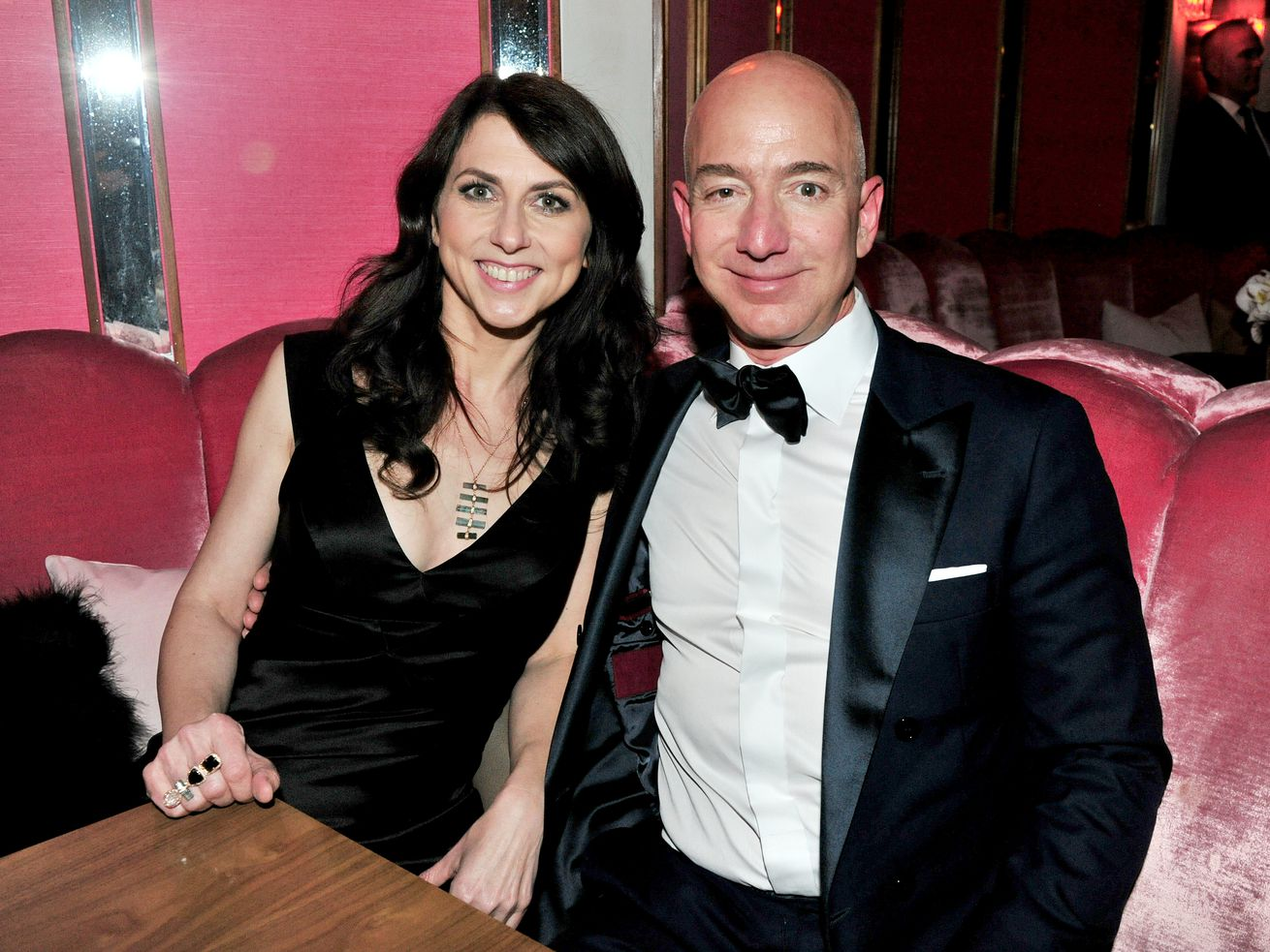Jeff Bezos and MacKenzie Bezos attending an Amazon Studios Oscars party on February 26, 2017, in West Hollywood, California.