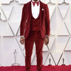Stephan James wears custom Etro for his Red Carpet arrival at the Oscars.| Richard Shotwell/Invision/AP