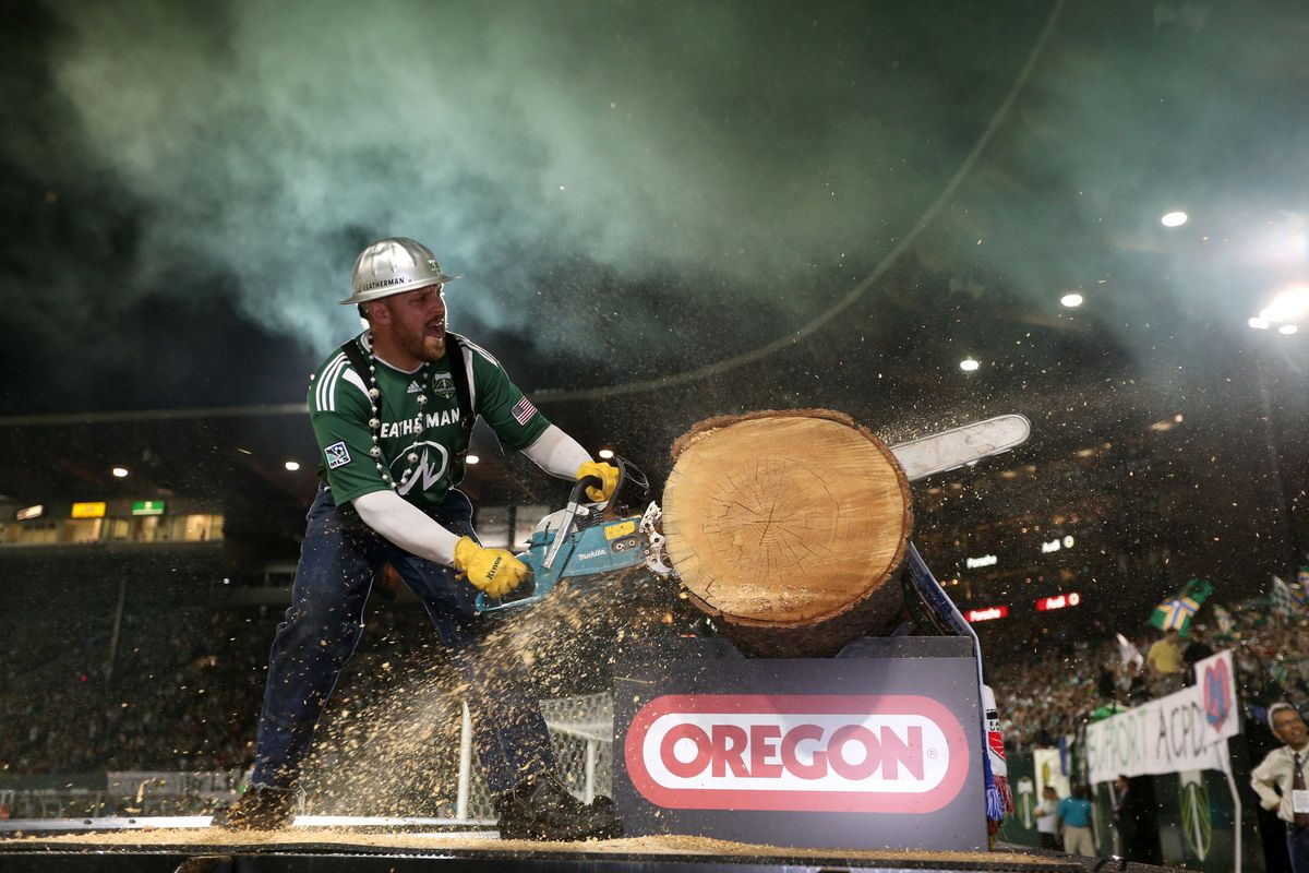 PORTLAND, OR - AUGUST 31: Timber Joey, mascot of the Portland Timbers cuts a log against the Colorado Rapids on August 31, 2012 at Jeld-Wen Field in Portland, Oregon. (Photo by Tom Hauck/Getty Images)