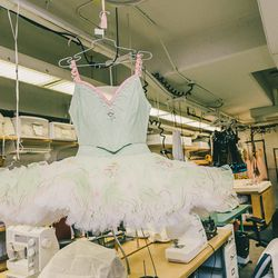 The second dress worn by the Sugar Plum Fairy during her Pas de Deux with the Cavalier. Like the pink Sugar Plum Fairy dresses, some dancers share a dress while others have their own—this one belongs to Sara Mearns, which wardrobe staff refer to simply as