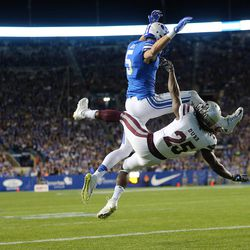 Brigham Young Cougars wide receiver Nick Kurtz (5) is interfered with in the end zone by Mississippi State Bulldogs defensive back Lashard Durr (25) as BYU and Mississippi State play in Provo at LaVell Edwards Stadium on Friday, Oct. 14, 2016.