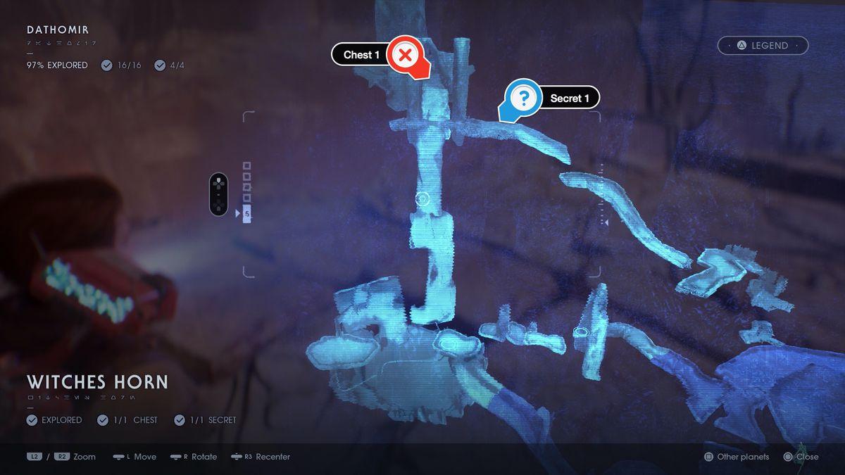 Star Wars Jedi Fallen Order Dathomir Witches Horn chest and secret map location