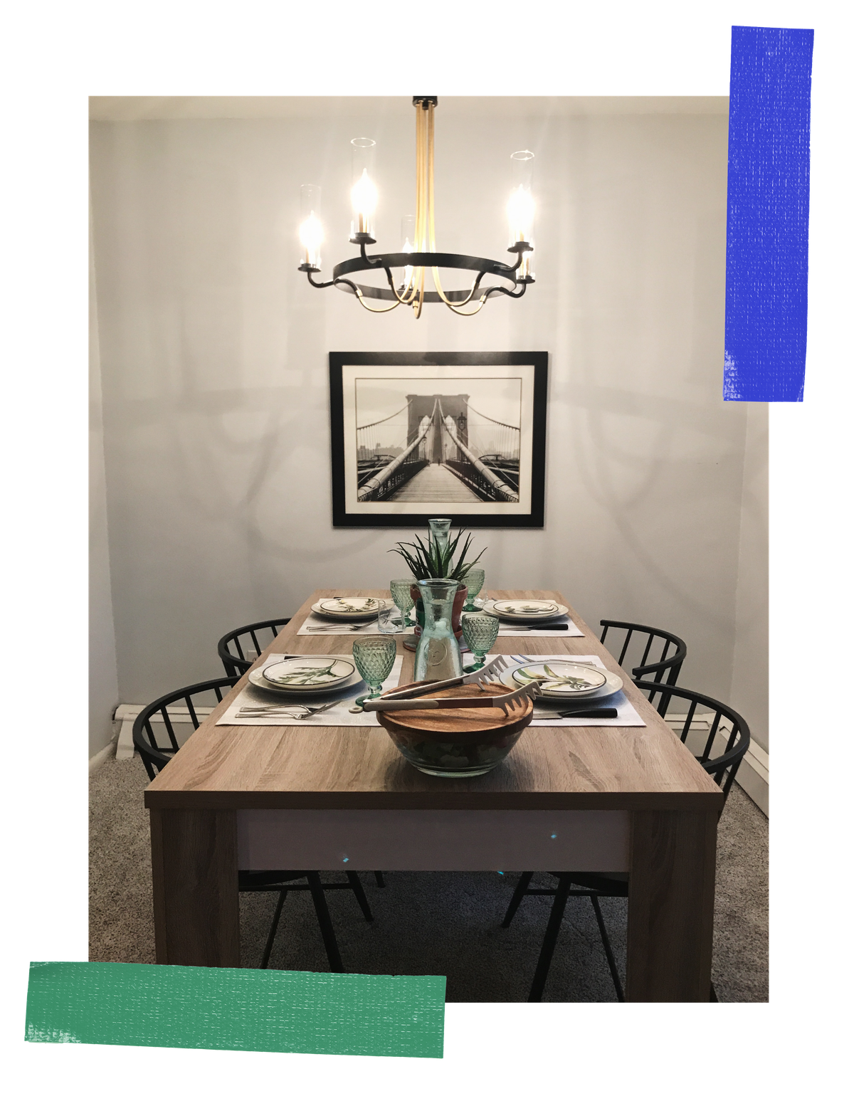 A photograph of the dining space all set up for Lauren's first official family dinner.