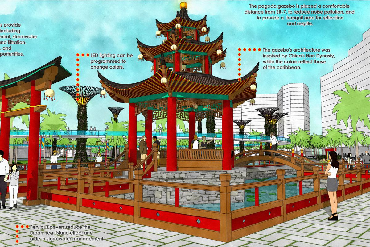 Rendering of the Pagoda Gazebo at North Miami's Chinatown