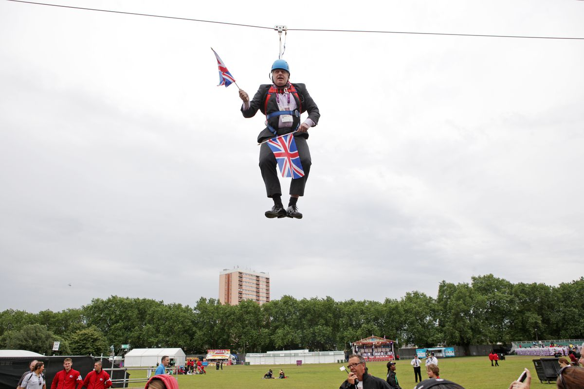 Pictured: Boris Johnson dangling from a zipline he got stuck on during a live sporting event in a public park in London in 2012. Clearly a man concerned with not looking ridiculous in public.