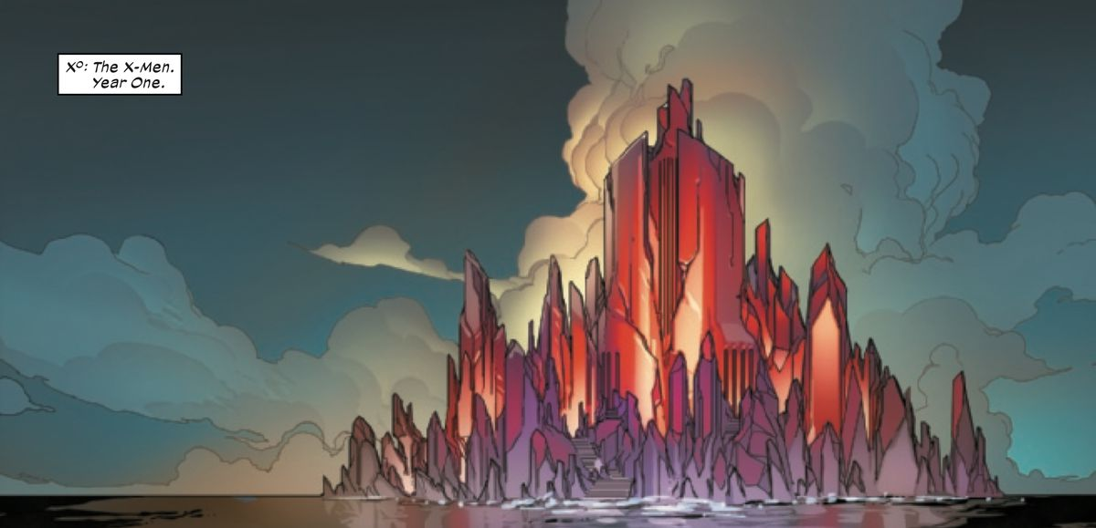 A castle on an island — both appear to be cut from the same upward-growing red crystal, in Powers of X #4, Marvel Comics (2019).