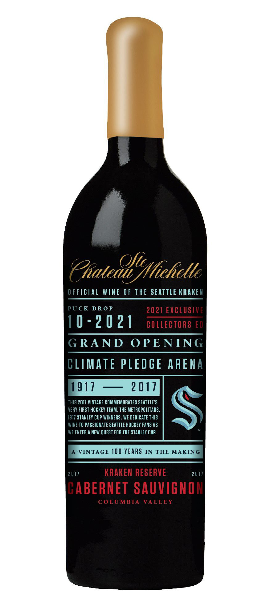 """A bottle of Chateau Ste. Michelle Cabernet Sauvignon, with Seattle Kraken branding and the words """"Climate Pledge Arena"""" across the label"""