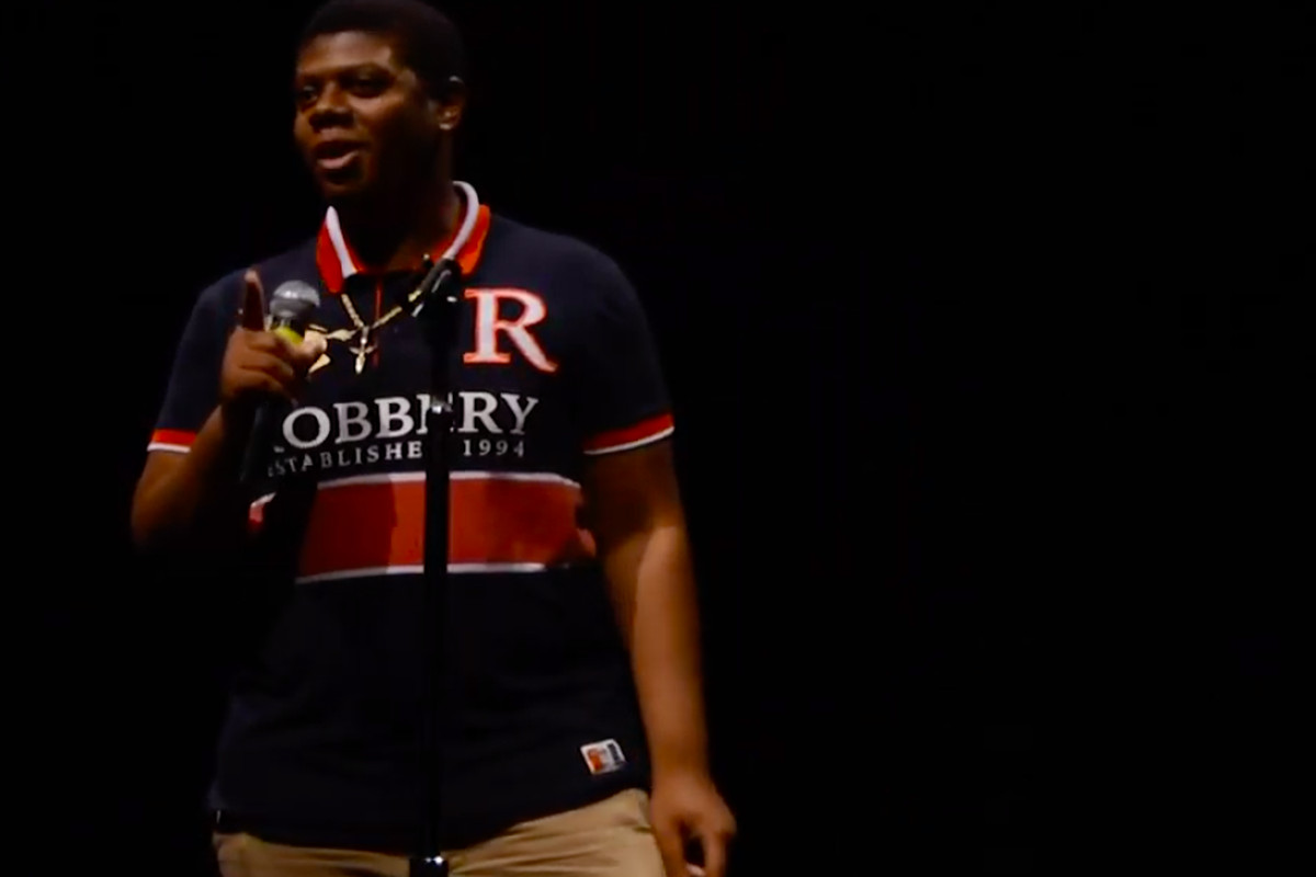 Virgil Mason speaks during a Student Story Slam hosted by Chalkbeat and 482Forward in August.