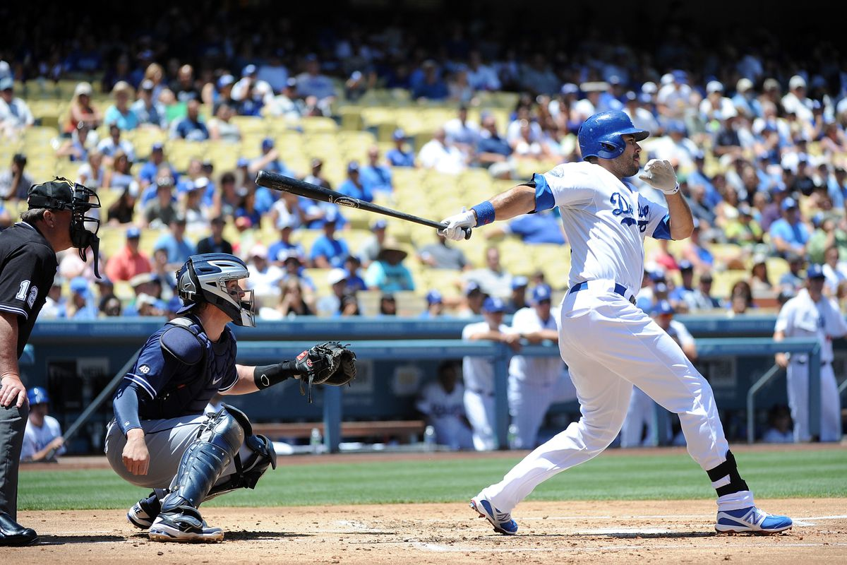 LOS ANGELES, CA - JULY 15:  Andre Ethier #16 of the Los Angeles Dodgers hits a RBI single in the first inning against the San Diego Padres at Dodger Stadium on July 15, 2012 in Los Angeles, California.  (Photo by Lisa Blumenfeld/Getty Images)