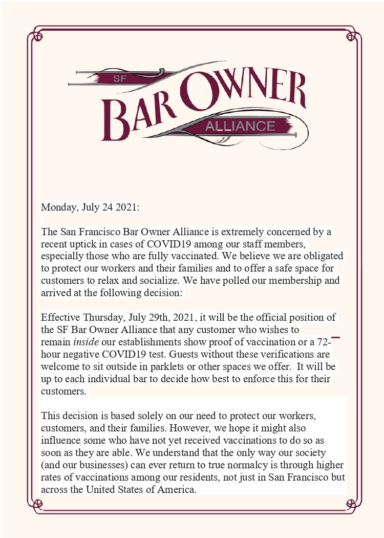 Proof of vaccination statement from the SF Bar Owner Alliance