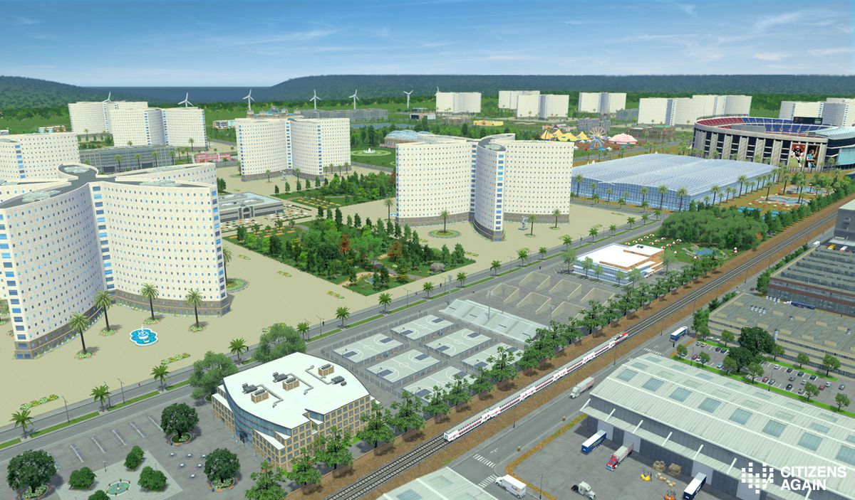 A rendering of a massive city in a rural setting shows tall apartment towers, a stadium and carnival rides, parkland and recreation facilities.