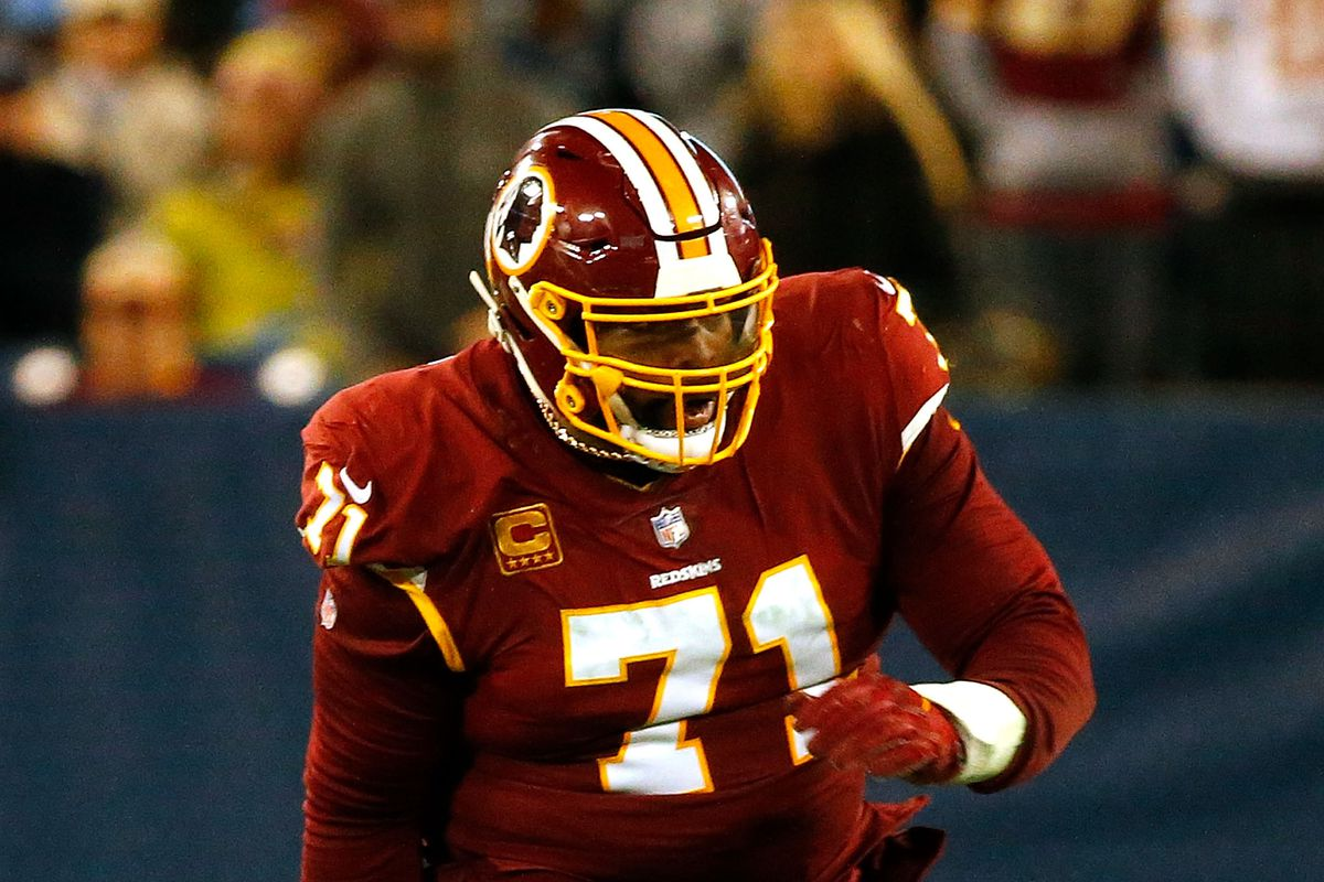 Washington offensive tackle Trent Williams plays against the Tennessee Titans at Nissan Stadium on December 22, 2018 in Nashville, Tennessee.
