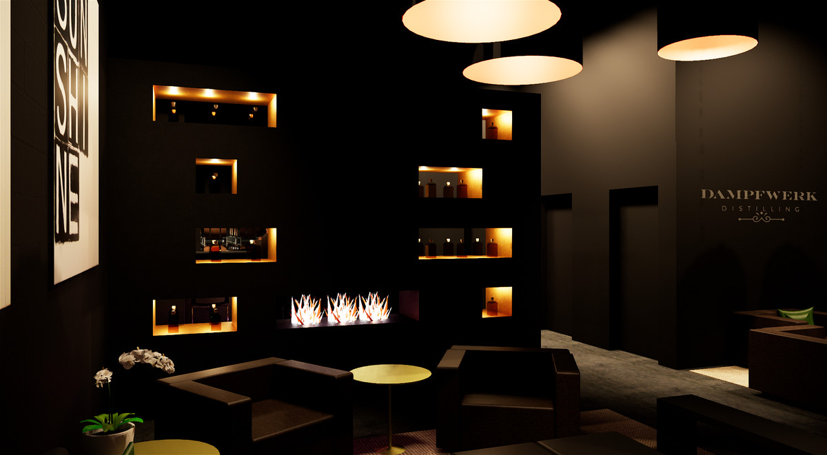 A rendering of the lounge includes dark walls, dark seating, with a few lit, built-in shelves