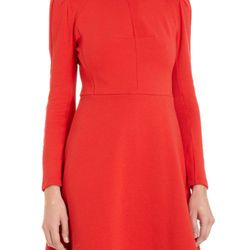 """<b>Carven</b> Long Sleeve Dress in red, <a href=""""http://www.barneys.com/Carven-Long-Sleeve-Dress/502179365,default,pd.html?cgid=womens-dresses&index=40"""">$420</a> at Barneys New York"""