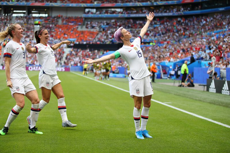 2019 FIFA Women's World Cup France: Megan Rapinoe celebrates scoring her team's first goal against the Netherlands.