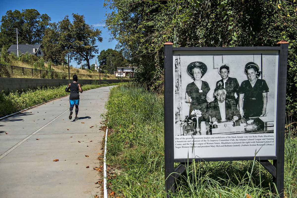An installation of photos from the civil rights era in Atlanta, as curated by Karcheik Sims-Alvarado, dots the Westside Trail.