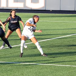 UConn's Duda Santin #99 during the New Hampshire Wildcats vs the UConn Huskies exhibition women's college soccer game at Morrone Stadium at Rizza Performance Center in Storrs, CT, on Saturday August 14, 2021.